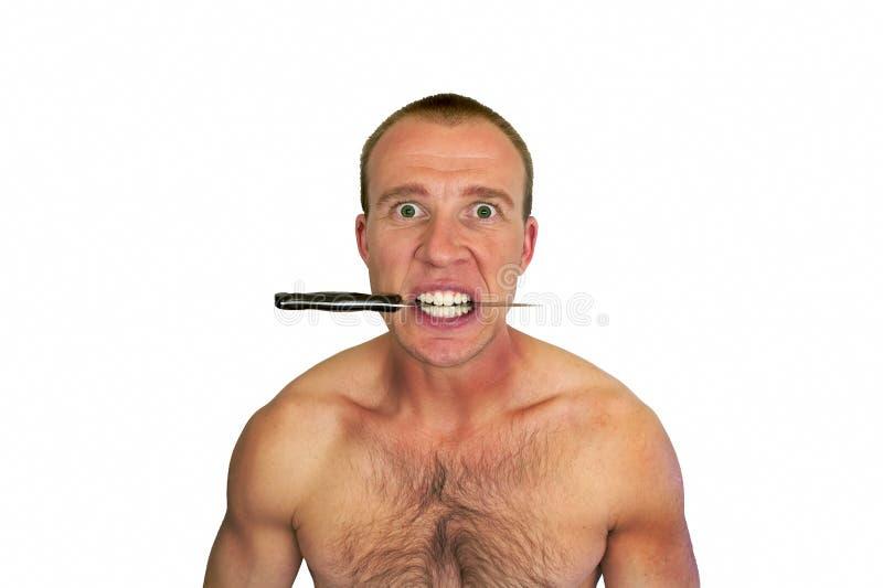 Άτομο και μαχαίρι στοκ εικόνες