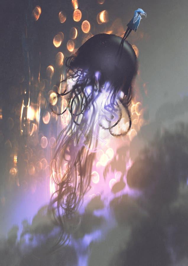 Άτομο και μεγάλη μέδουσα που επιπλέουν στον αέρα απεικόνιση αποθεμάτων