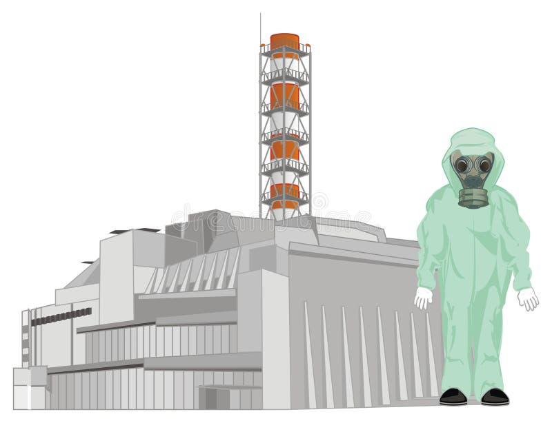 Άτομο και πυρηνικός σταθμός διανυσματική απεικόνιση