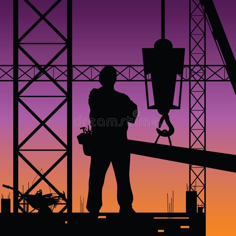 Άτομο κατασκευής στο διάνυσμα εργασίας ελεύθερη απεικόνιση δικαιώματος