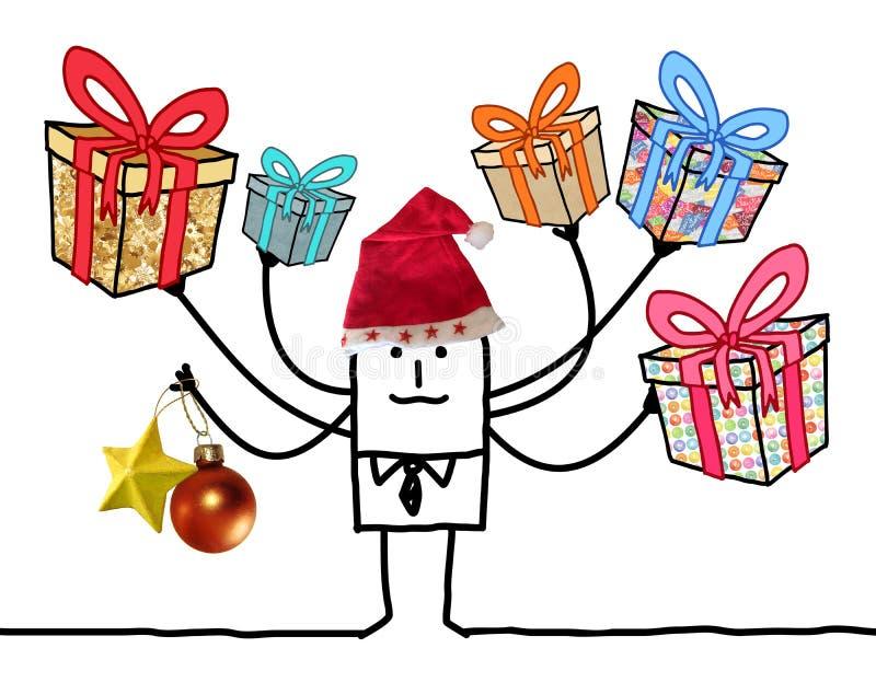 Άτομο κινούμενων σχεδίων με τα πολυ δώρα και το κόκκινο καπέλο Santa διανυσματική απεικόνιση