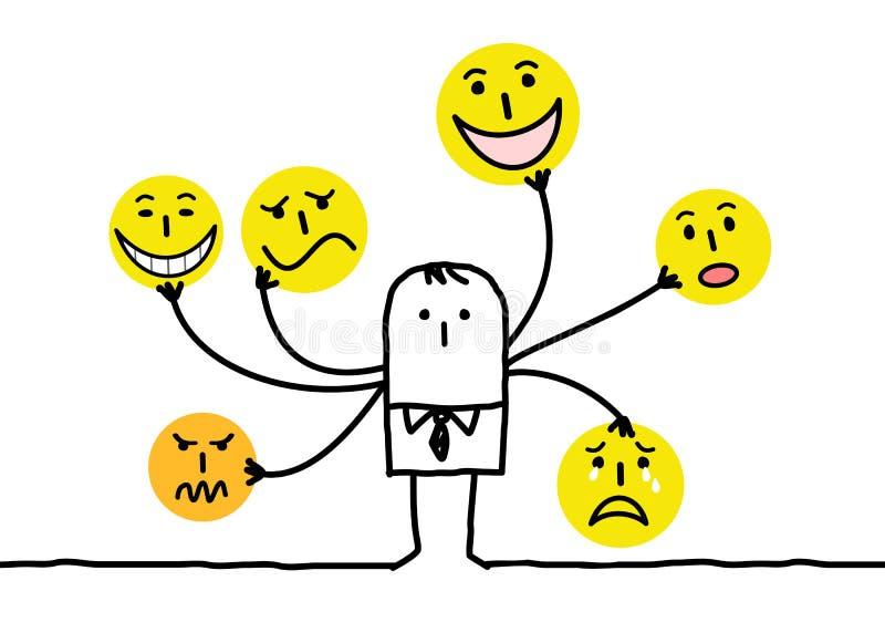 Άτομο κινούμενων σχεδίων με τα πολυ πρόσωπα Emoticon διανυσματική απεικόνιση
