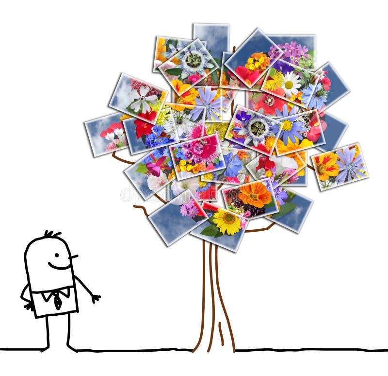 Άτομο κινούμενων σχεδίων που προσέχει ένα ανθίζοντας φωτογραφικό δέντρο διανυσματική απεικόνιση