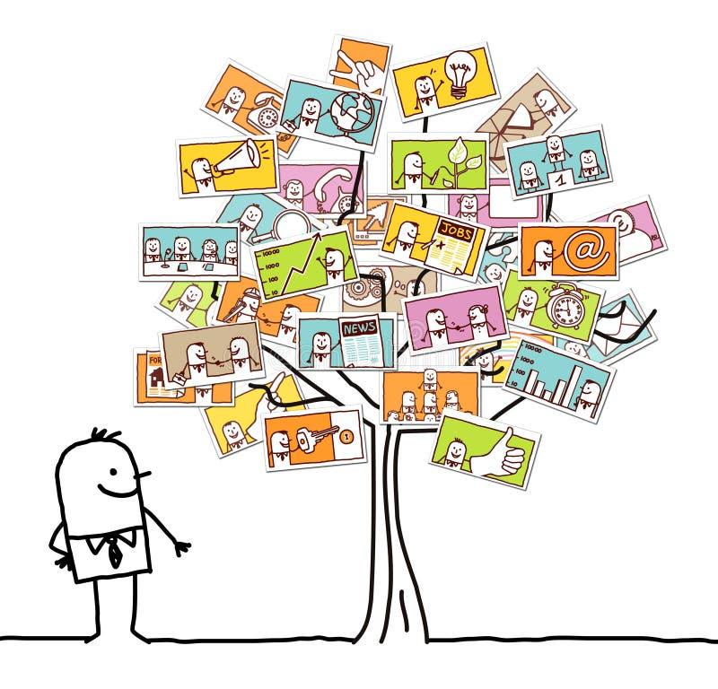 Άτομο κινούμενων σχεδίων που προσέχει ένα δέντρο επιχειρησιακής κοινωνίας ελεύθερη απεικόνιση δικαιώματος