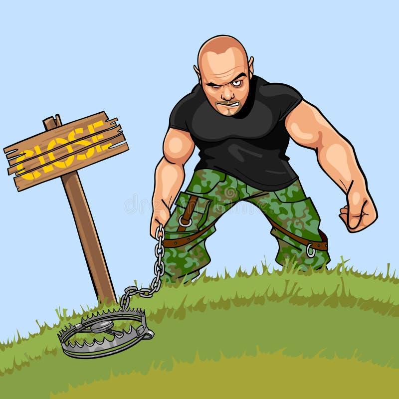 Άτομο κινούμενων σχεδίων με μια παγίδα κοντά σε μια πινακίδα κλειστή απεικόνιση αποθεμάτων