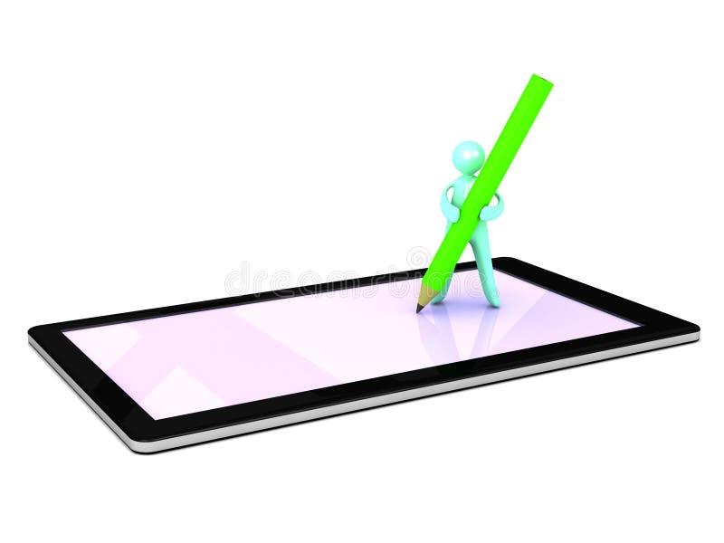 Άτομο κινούμενων σχεδίων που γράφει σε μια ταμπλέτα διανυσματική απεικόνιση
