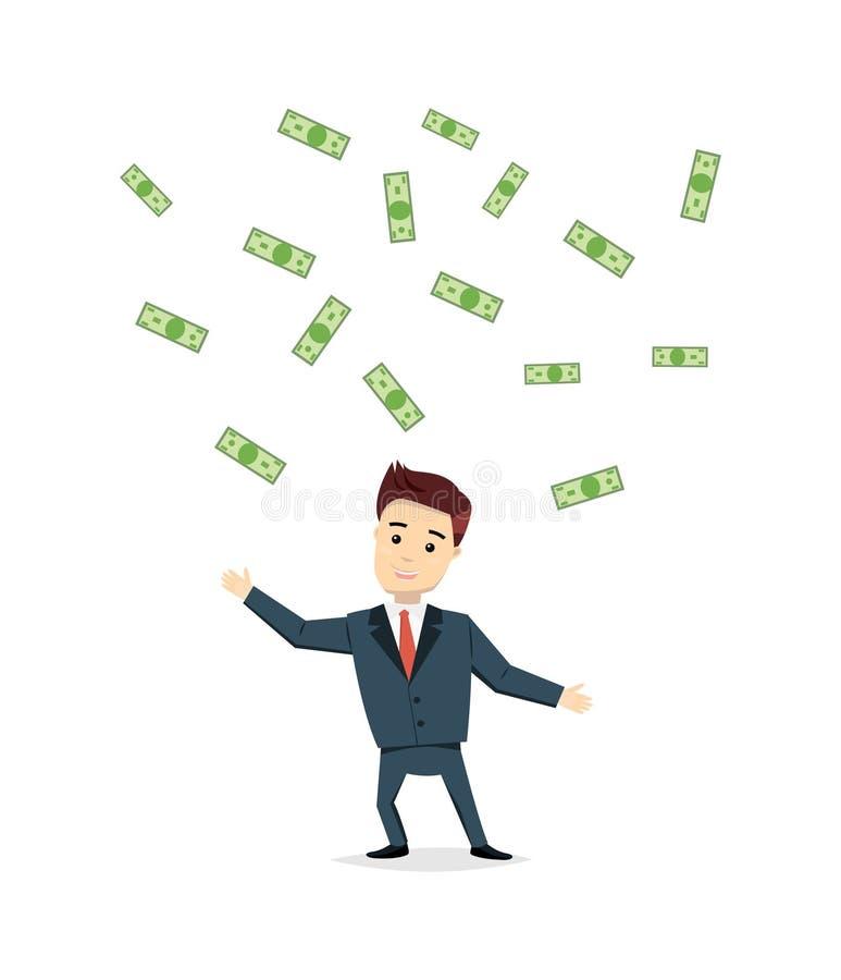Άτομο κινούμενων σχεδίων που χαράζει τα χρήματα - απεικόνιση Ικανοποιημένο κόστος μετρητών επιχειρηματιών κάτω από τη βροχή Επιτυ απεικόνιση αποθεμάτων