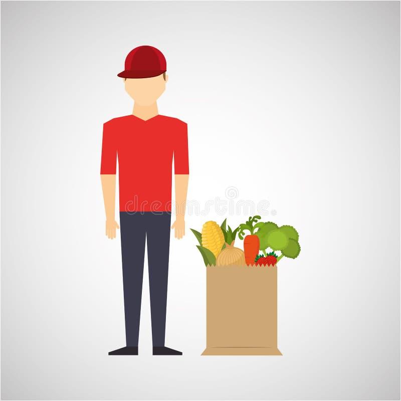 Άτομο κόκκινη ΚΑΠ κινούμενων σχεδίων με τα υγιή τρόφιμα τσαντών καταστημάτων διανυσματική απεικόνιση