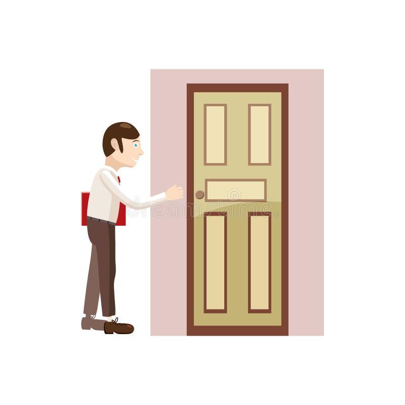 Άτομο με έναν φάκελλο στο εικονίδιο πορτών, ύφος κινούμενων σχεδίων διανυσματική απεικόνιση