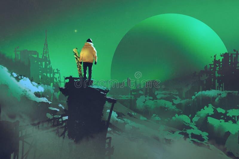 Άτομο με ένα σνόουμπορντ που στέκεται ενάντια στο χειμερινό τοπίο απεικόνιση αποθεμάτων