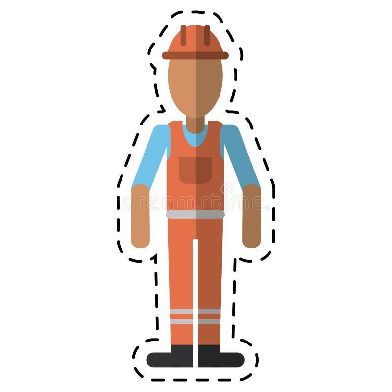 Άτομο με κρανών την ομοιόμορφη γραμμή ανάδοχος-σημείων εργασίας επαγγελματική απεικόνιση αποθεμάτων