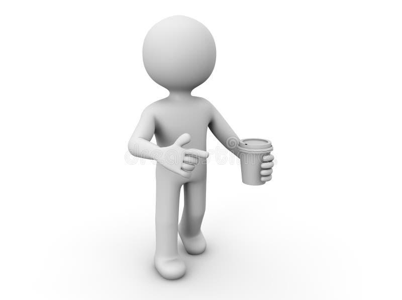 Άτομο με μια κούπα καφέ διανυσματική απεικόνιση