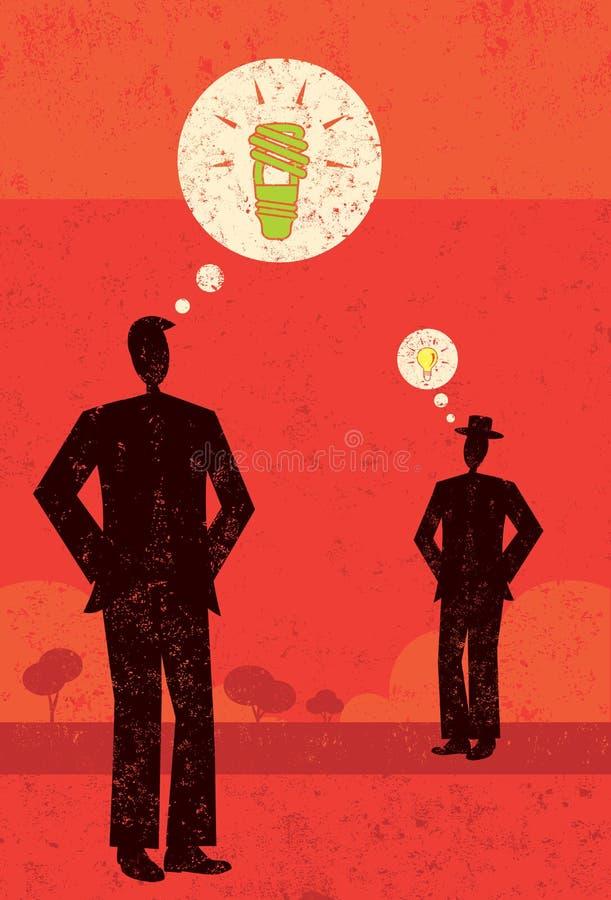 Άτομο με μια πράσινη ιδέα ελεύθερη απεικόνιση δικαιώματος