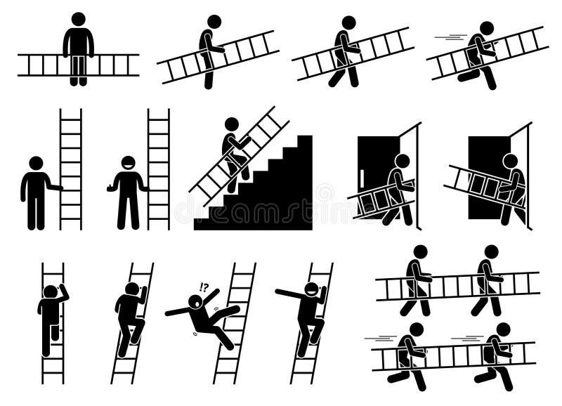 Άτομο με μια σκάλα διανυσματική απεικόνιση