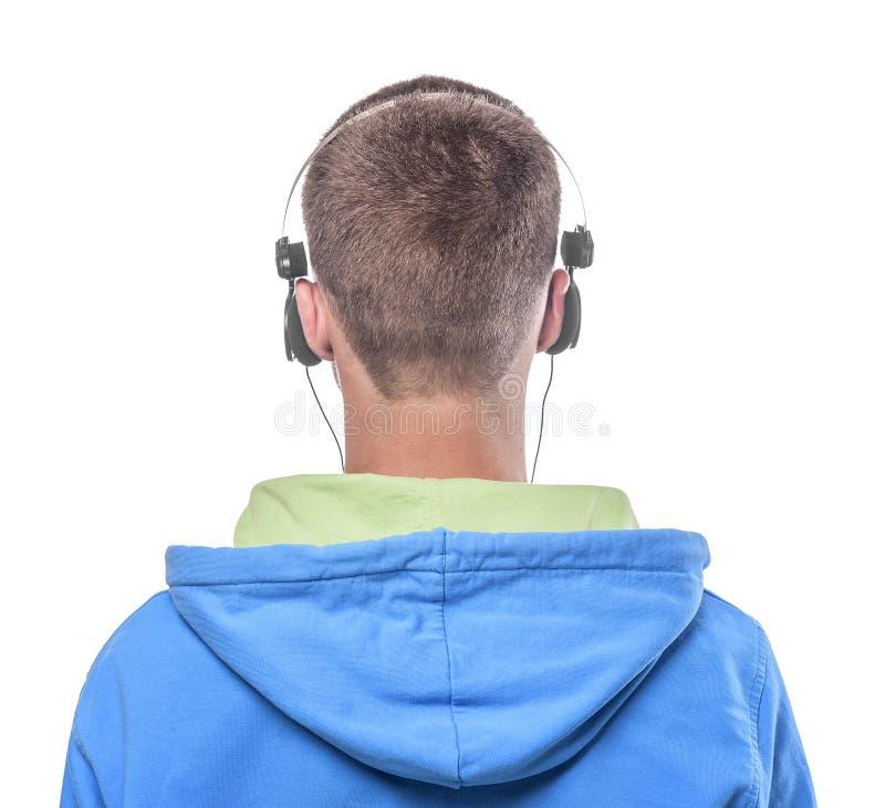 Άτομο με τα ακουστικά στοκ φωτογραφίες