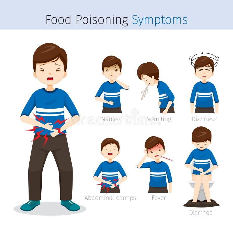 Άτομο με τα συμπτώματα τροφικής δηλητηρίασης διανυσματική απεικόνιση