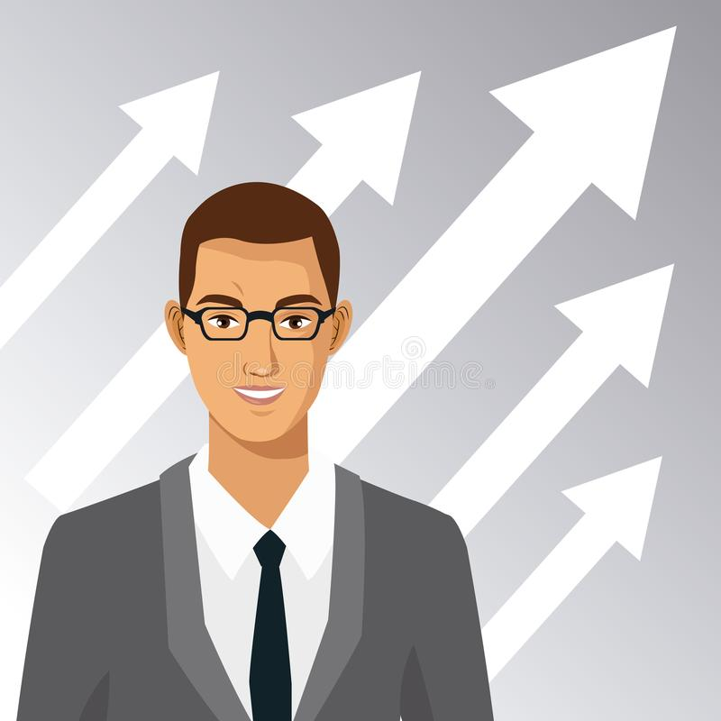 Άτομο με την αύξηση επιχειρησιακών βελών κοστουμιών γυαλιών απεικόνιση αποθεμάτων