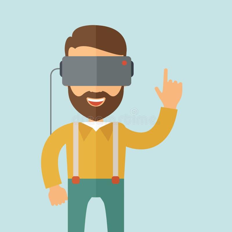 Άτομο με την κάσκα εικονικής πραγματικότητας διανυσματική απεικόνιση
