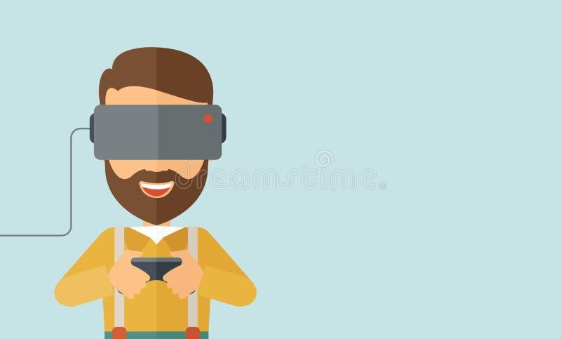 Άτομο με την κάσκα εικονικής πραγματικότητας απεικόνιση αποθεμάτων