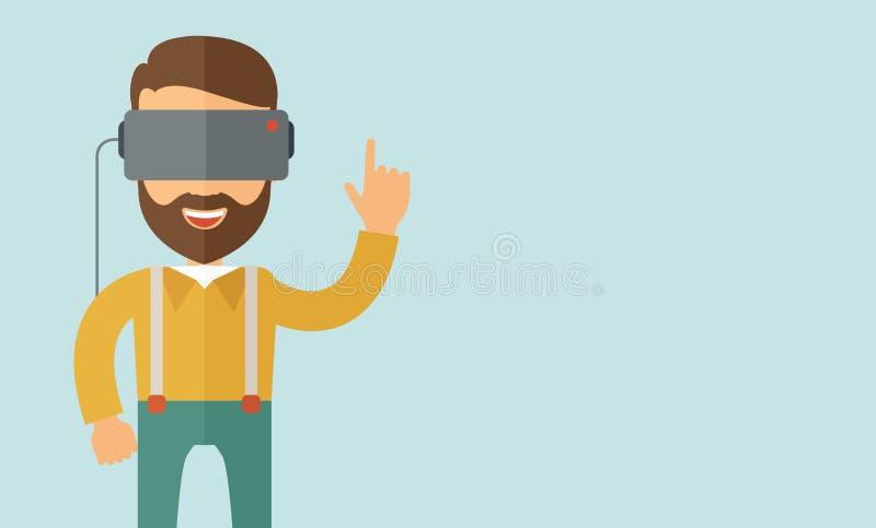 Άτομο με την κάσκα εικονικής πραγματικότητας ελεύθερη απεικόνιση δικαιώματος