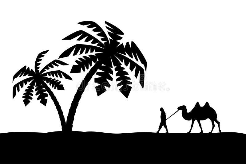 Άτομο με την καμήλα σε Palma. απεικόνιση αποθεμάτων