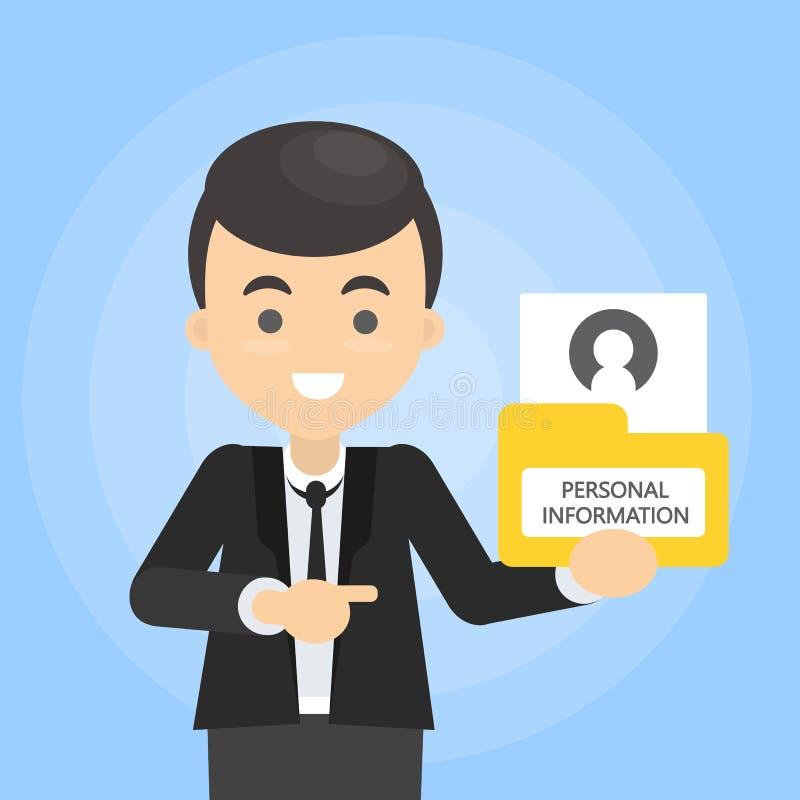 Άτομο με τη προσωπική πληροφορία απεικόνιση αποθεμάτων