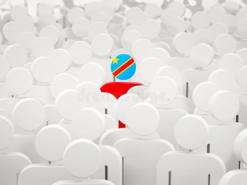 Άτομο με τη σημαία της λαϊκής δημοκρατίας του Κογκό σε ένα πλήθος διανυσματική απεικόνιση