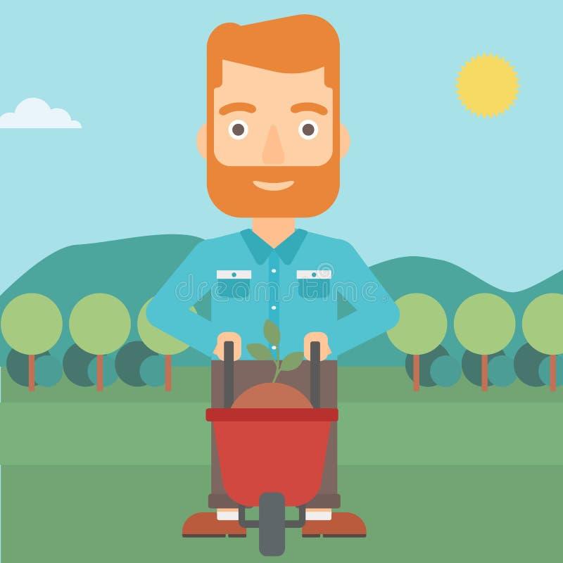 Άτομο με τις εγκαταστάσεις και wheelbarrow απεικόνιση αποθεμάτων