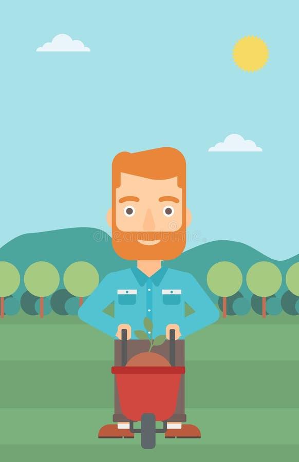 Άτομο με τις εγκαταστάσεις και wheelbarrow διανυσματική απεικόνιση
