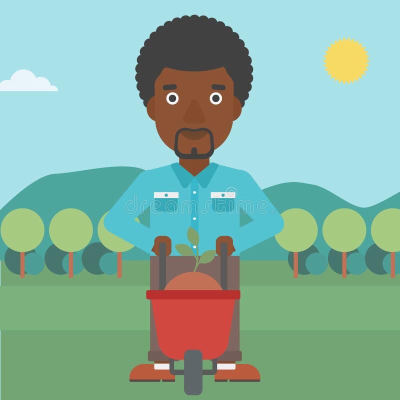 Άτομο με τις εγκαταστάσεις και wheelbarrow ελεύθερη απεικόνιση δικαιώματος