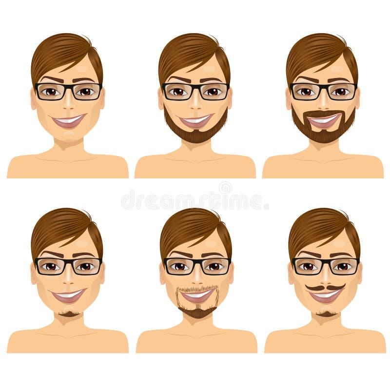Άτομο με τις διαφορετικές μορφές γενειάδων απεικόνιση αποθεμάτων
