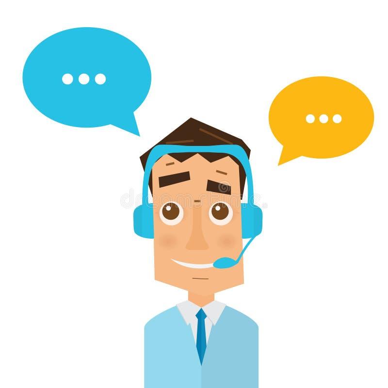 Άτομο με τις κάσκες και τις ζωηρόχρωμες λεκτικές φυσαλίδες στο τηλεφωνικό κέντρο διανυσματική απεικόνιση