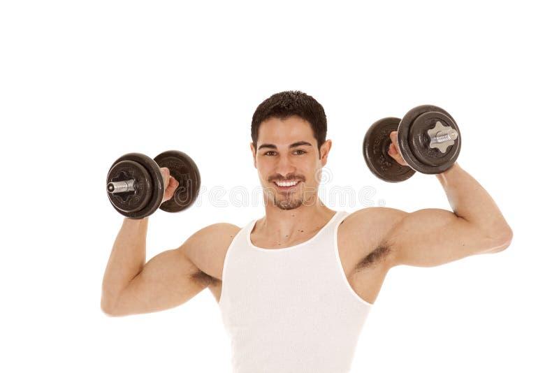 Άτομο με τους δικέφαλους μυς και τα βάρη στοκ εικόνες με δικαίωμα ελεύθερης χρήσης