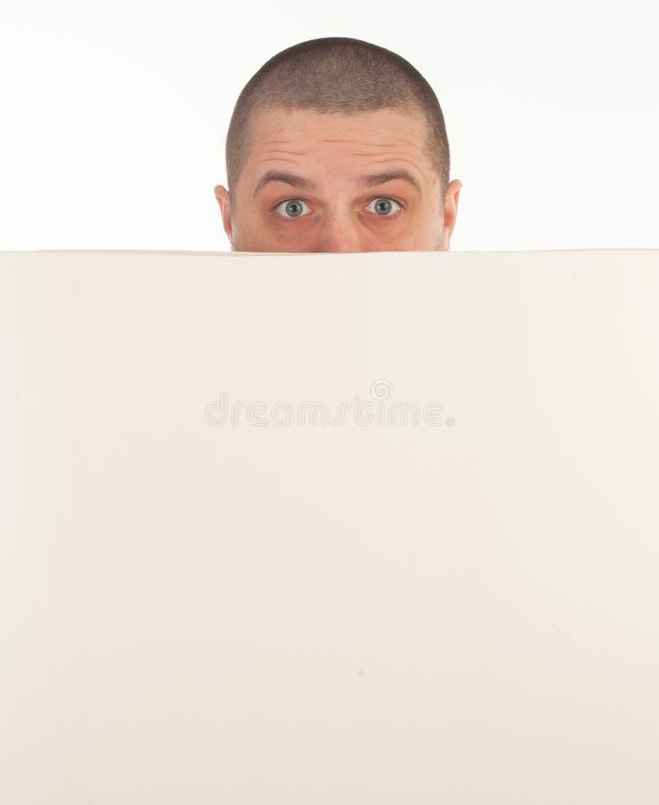 Άτομο με το έμβλημα στοκ φωτογραφία με δικαίωμα ελεύθερης χρήσης