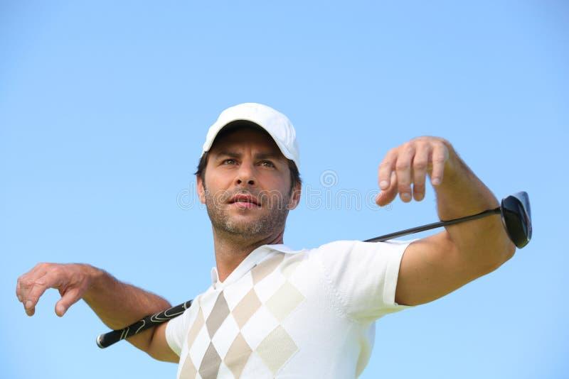 Άτομο με το γκολφ κλαμπ στοκ φωτογραφίες με δικαίωμα ελεύθερης χρήσης