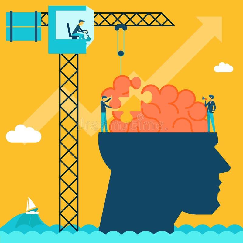 Άτομο με το γρίφο εγκεφάλου Δημιουργικό υπόβαθρο έννοιας διανυσματική απεικόνιση