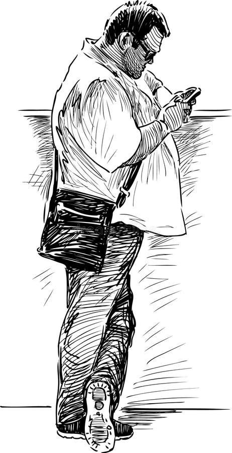 Άτομο με το κινητό τηλέφωνο ελεύθερη απεικόνιση δικαιώματος