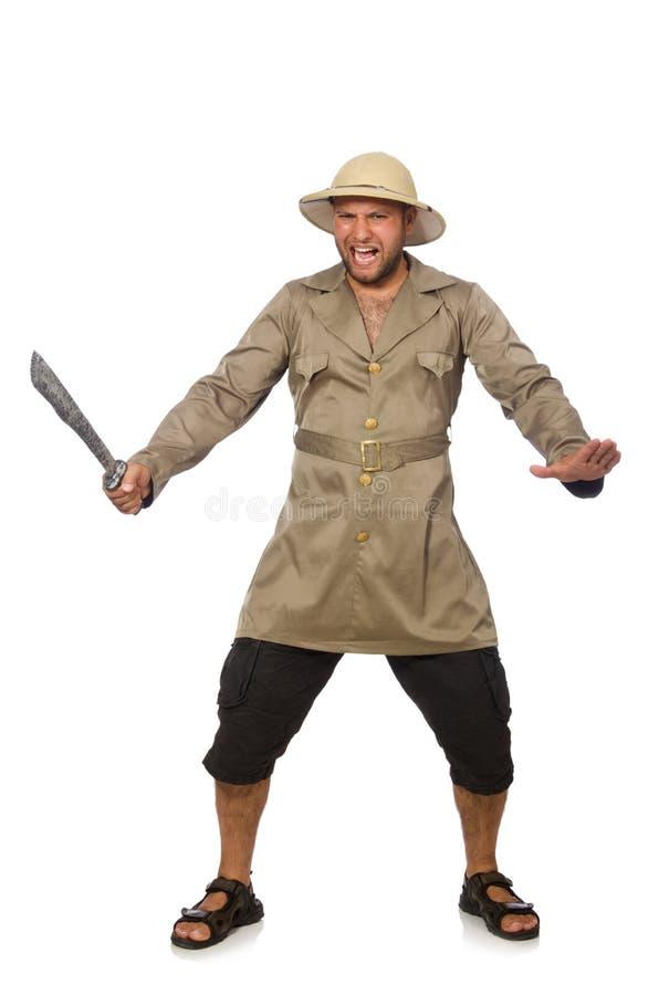 Download Άτομο με το μαχαίρι που απομονώνεται στο λευκό Στοκ Εικόνα - εικόνα από διασκέδαση, κυνήγι: 62707653