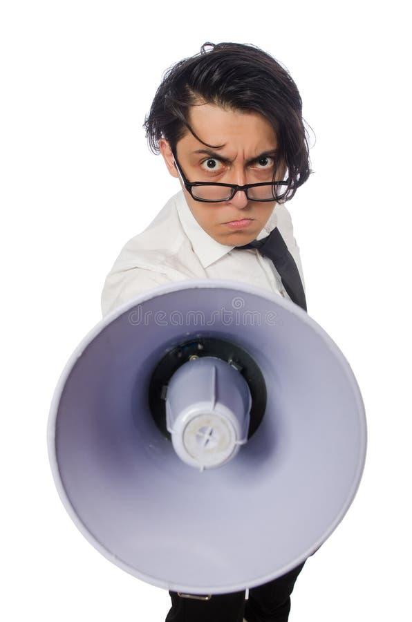 Download Άτομο με το μεγάφωνο που απομονώνεται στο λευκό Στοκ Εικόνες - εικόνα από επιχείρηση, διευθυντής: 62709262