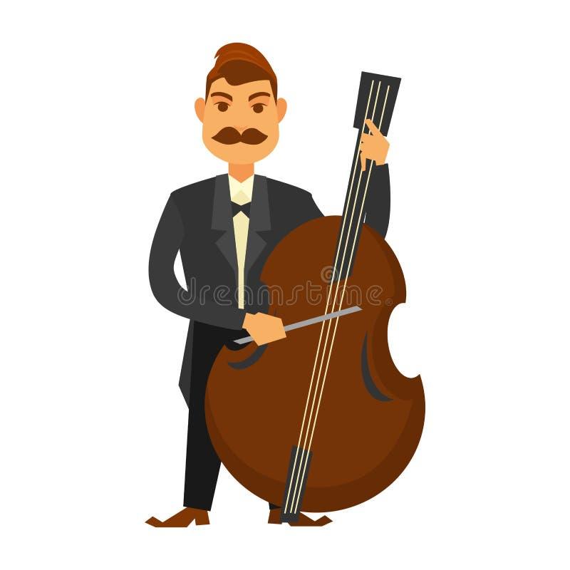Άτομο με το παιχνίδι moustache contrabass που απομονώνεται στο λευκό ελεύθερη απεικόνιση δικαιώματος