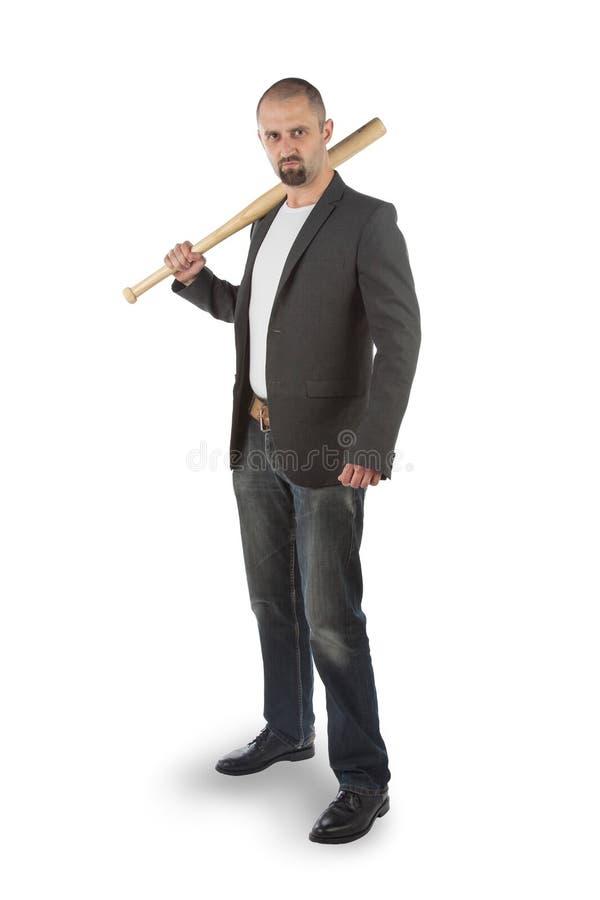 Άτομο με το ρόπαλο του μπέιζμπολ στοκ εικόνα