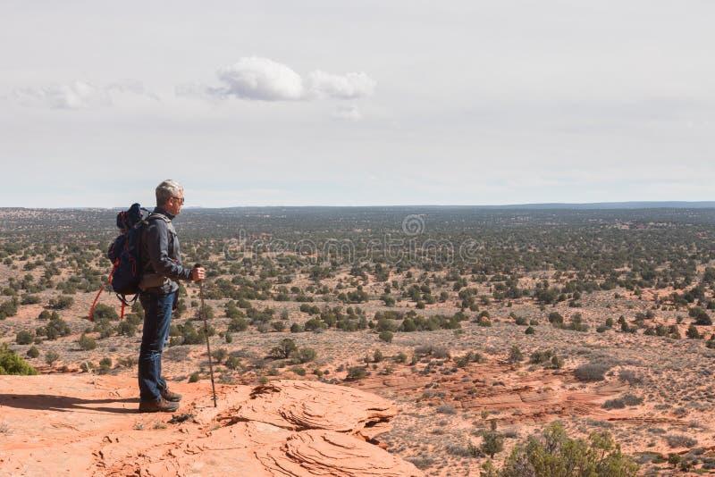Άτομο με το σακίδιο πλάτης και ραβδί περπατήματος στην άκρη ενός απότομου βράχου στοκ εικόνες