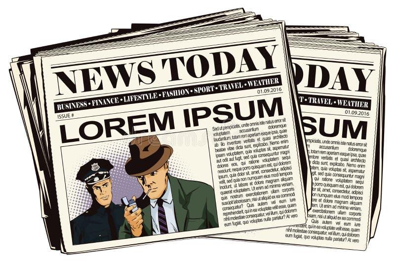 Άτομο με το τσιγάρο και αστυνομικός Άρθρο εφημερίδων διανυσματική απεικόνιση