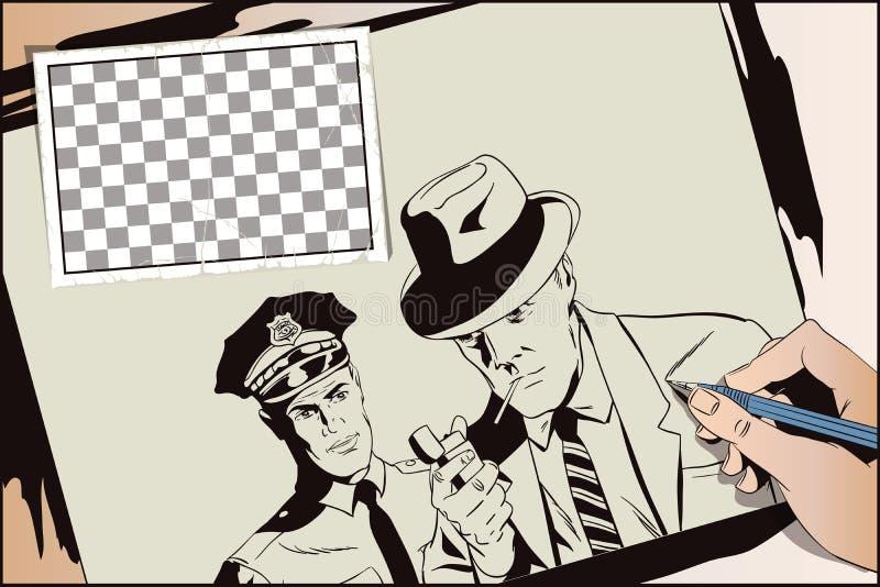 Άτομο με το τσιγάρο και αστυνομικός Το χέρι χρωματίζει την εικόνα διανυσματική απεικόνιση