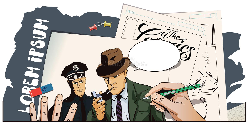 Άτομο με το τσιγάρο και αστυνομικός Το χέρι χρωματίζει την εικόνα απεικόνιση αποθεμάτων