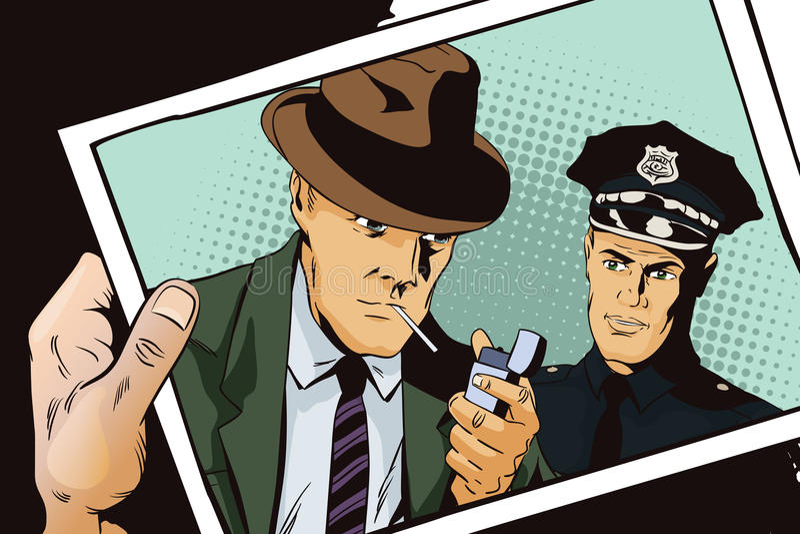 Άτομο με το τσιγάρο και αστυνομικός Χέρι με τη φωτογραφία ελεύθερη απεικόνιση δικαιώματος