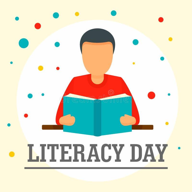 Άτομο με το υπόβαθρο ημέρας βασικής εκπαίδευσης βιβλίων, επίπεδο ύφος διανυσματική απεικόνιση