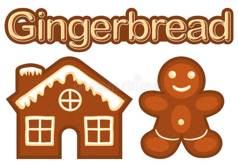 Άτομο μπισκότων ψωμιού πιπεροριζών Χριστουγέννων και ζωηρόχρωμη έξυπνη αφίσα σπιτιών διανυσματική απεικόνιση