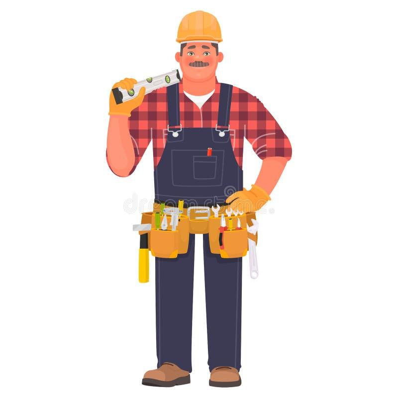 Άτομο οικοδόμων σε ένα σκληρό καπέλο και με τα εργαλεία Επιστάτης ή εργάτης οικοδομών για ένα άσπρο υπόβαθρο ελεύθερη απεικόνιση δικαιώματος
