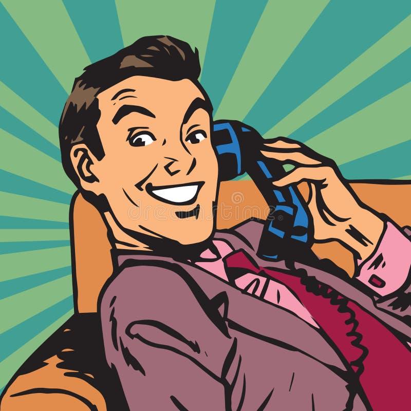 Άτομο πορτρέτου Printavatar με το αναδρομικό τηλέφωνο διανυσματική απεικόνιση